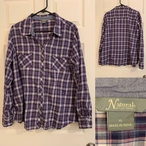 Natural Reflections Plaid Button Down Top